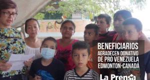 Beneficiarios agradecen donativo de Pro Venezuela Edmonton-Canadá