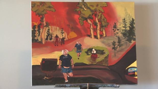 La pintura de Brad Fehr Red Eye muestra una representación de los incendios de Fort McMurray en 2016
