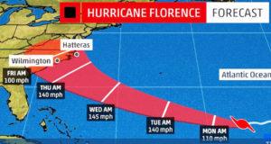 Huracán Florence pone en alerta ambiental la región