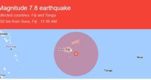 Terremoto de 7,8 grados de magnitud golpea la costa de Fiji